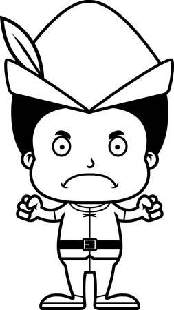 robin hood: A cartoon Robin Hood boy looking angry.
