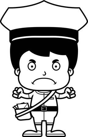 Een cartoon postbode jongen kijkt boos.