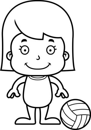 playa caricatura: A cartoon beach volleyball player girl smiling. Vectores
