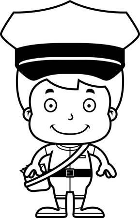 carrier: A cartoon mail carrier boy smiling.