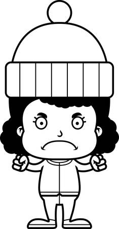 winter girl: A cartoon winter girl looking angry. Illustration