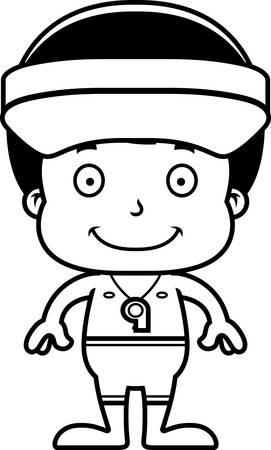 笑みを浮かべて漫画ライフガード少年。