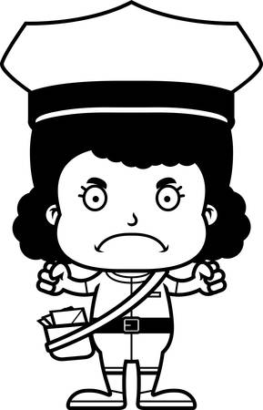 A cartoon mail carrier girl looking angry.