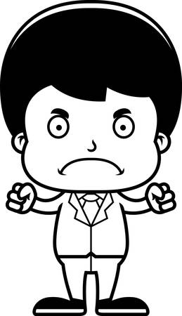 businessperson: A cartoon businessperson boy looking angry. Illustration