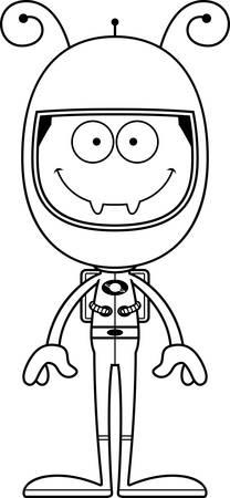 spacesuit: A cartoon astronaut ant smiling. Illustration