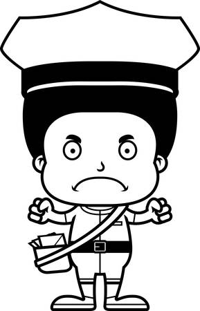 A cartoon mail carrier boy looking angry.
