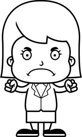 businesspersons: A cartoon businessperson girl looking angry.