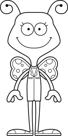A cartoon doctor butterfly smiling.