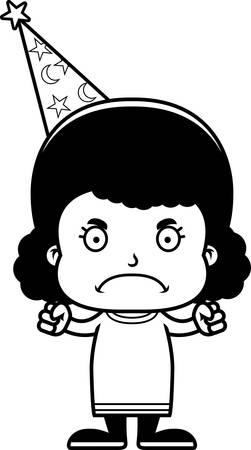 A cartoon wizard girl looking angry.