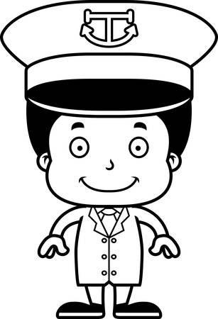 barco caricatura: A cartoon boat captain boy smiling.