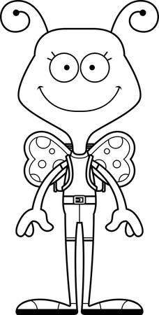 A cartoon hiker butterfly smiling.
