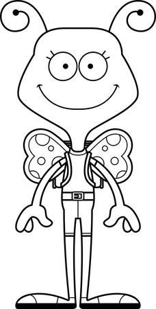 A cartoon hiker butterfly smiling.