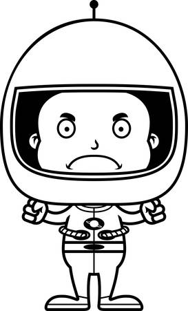 spacesuit: A cartoon astronaut boy looking angry.