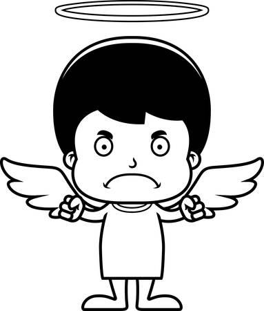 angry angel: A cartoon angel boy looking angry.