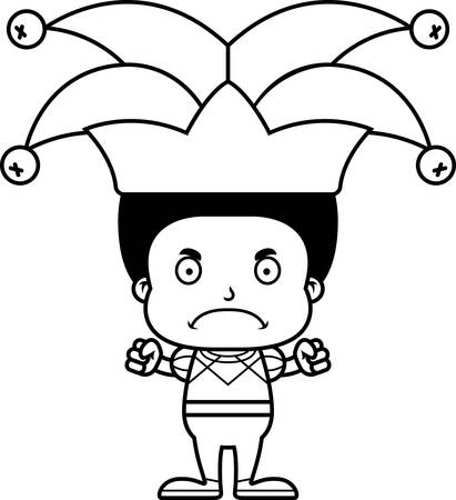 A cartoon jester boy looking angry.
