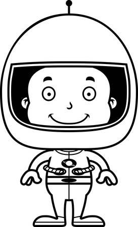 A cartoon astronaut boy smiling.