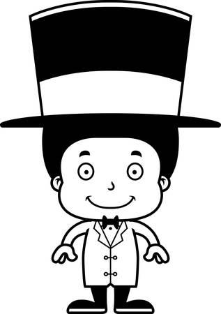 ringmaster: A cartoon ringmaster boy smiling. Illustration