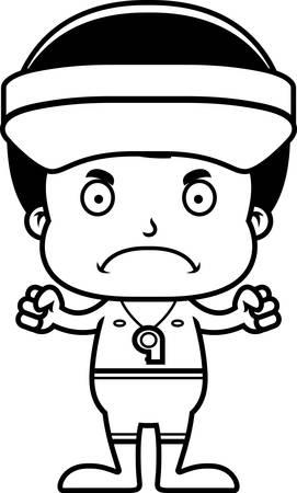 眉根を寄せた漫画ライフガード少年。