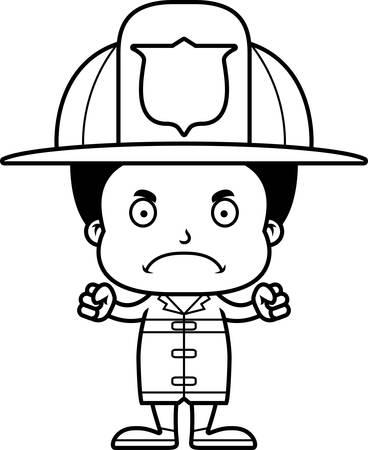 Ein Cartoon Feuerwehrmann Mädchen Auf Der Suche Zornig Lizenzfrei
