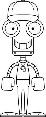 A cartoon coach robot smiling.