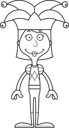 A cartoon jester woman smiling. Ilustrace