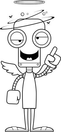 angel cartoon: A cartoon angel robot looking drunk.