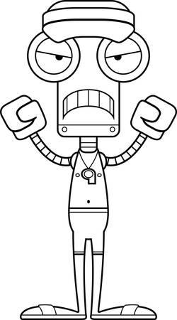 眉根を寄せた漫画ライフガード ロボット。