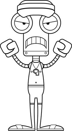 hat with visor: A cartoon lifeguard robot looking angry.