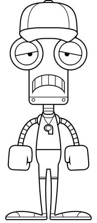 A cartoon coach robot looking sad.