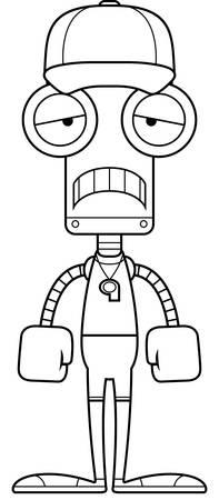 A cartoon coach robot looking sad.