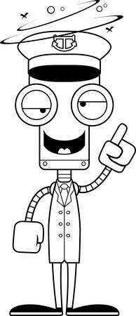 barco caricatura: Un robot capit�n del barco la historieta que parece borracho. Vectores