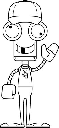 A cartoon coach robot looking silly.