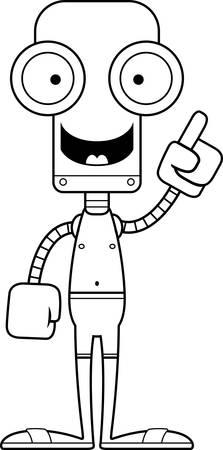 talking robot: A cartoon robot with an idea in a swimsuit.