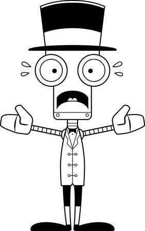 ringmaster: A cartoon ringmaster robot looking scared. Illustration