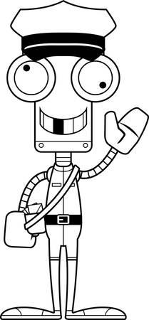 Een cartoon postbode robot op zoek dom.