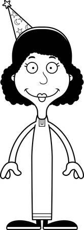 A cartoon wizard woman smiling.