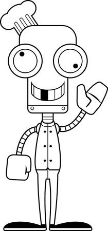 silly: A cartoon chef robot looking silly.