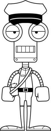Een cartoon postbode robot zoekt vervelen.