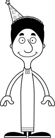 A cartoon wizard man smiling. Ilustrace