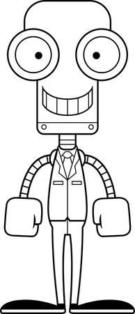 businessperson: A cartoon businessperson robot smiling.