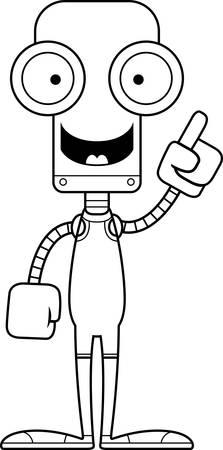 A cartoon wrestler robot with an idea.