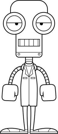 A cartoon doctor robot looking bored.