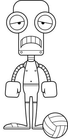 playa caricatura: Un jugador de voleibol playa de la historieta robot con cara de tristeza.