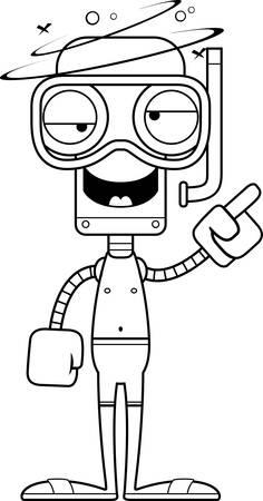 cartoon bathing: A cartoon snorkeler robot looking drunk.