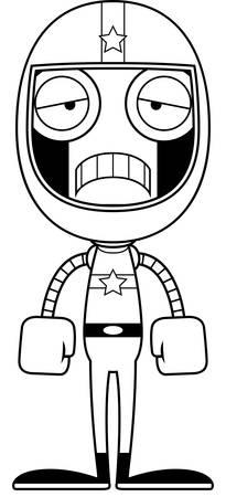 race car driver: A cartoon race car driver robot looking sad.