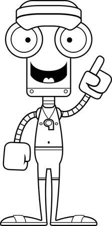 talking robot: A cartoon lifeguard robot with an idea.
