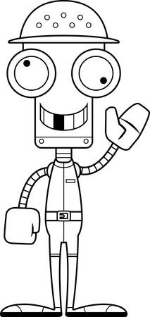 m�dula: Un robot empleado del zool�gico historieta que parece una tonter�a. Vectores
