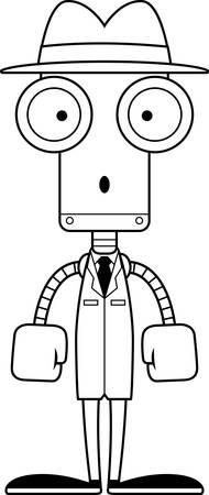 A cartoon detective robot looking surprised.
