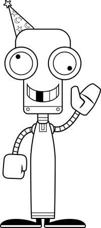 A cartoon wizard robot looking silly.