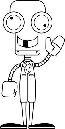 researcher: A cartoon scientist robot looking silly.